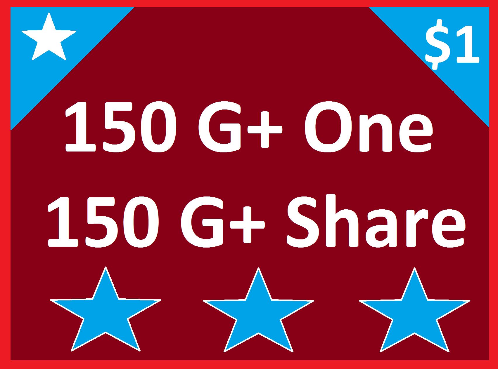 150 Google Plus One + 150 Google Plus Share Social Signals Improve Your Website Ranking