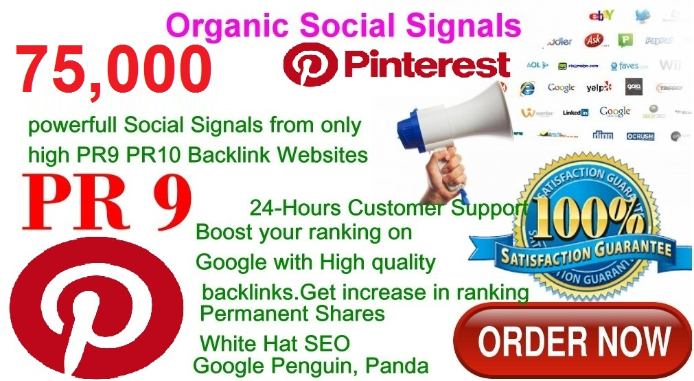 Rocket Delivery 75,000 Real High Quality Pinterest Share Social Signals PR9 No1 Social Media Bookmark to Improve SEO and Boost Web Ranking