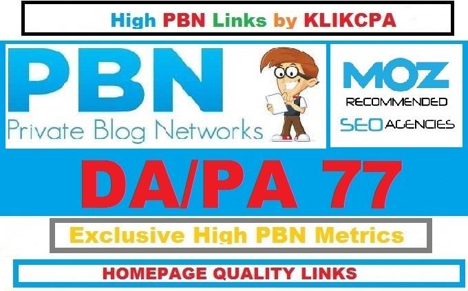 Permanent 6 Manual HIGH DA PA 77 Dofollow Homepage PBN Links