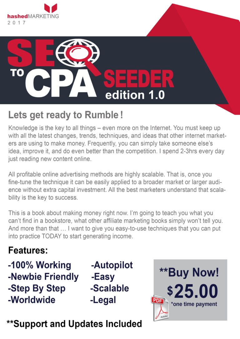 SEO To CPA Seeder Edition 1 – Only Method You Need To Make $100 a Day