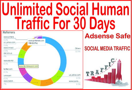 Get 30 days of Human traffic from social & organic web traffic from main search engines