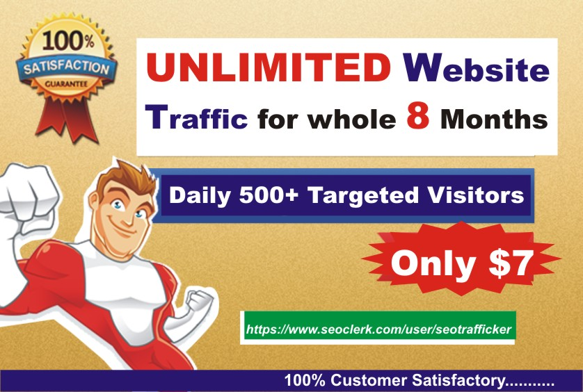 Unlimited TARGETED Daily Real Human Website TRAFFIC for 8 months