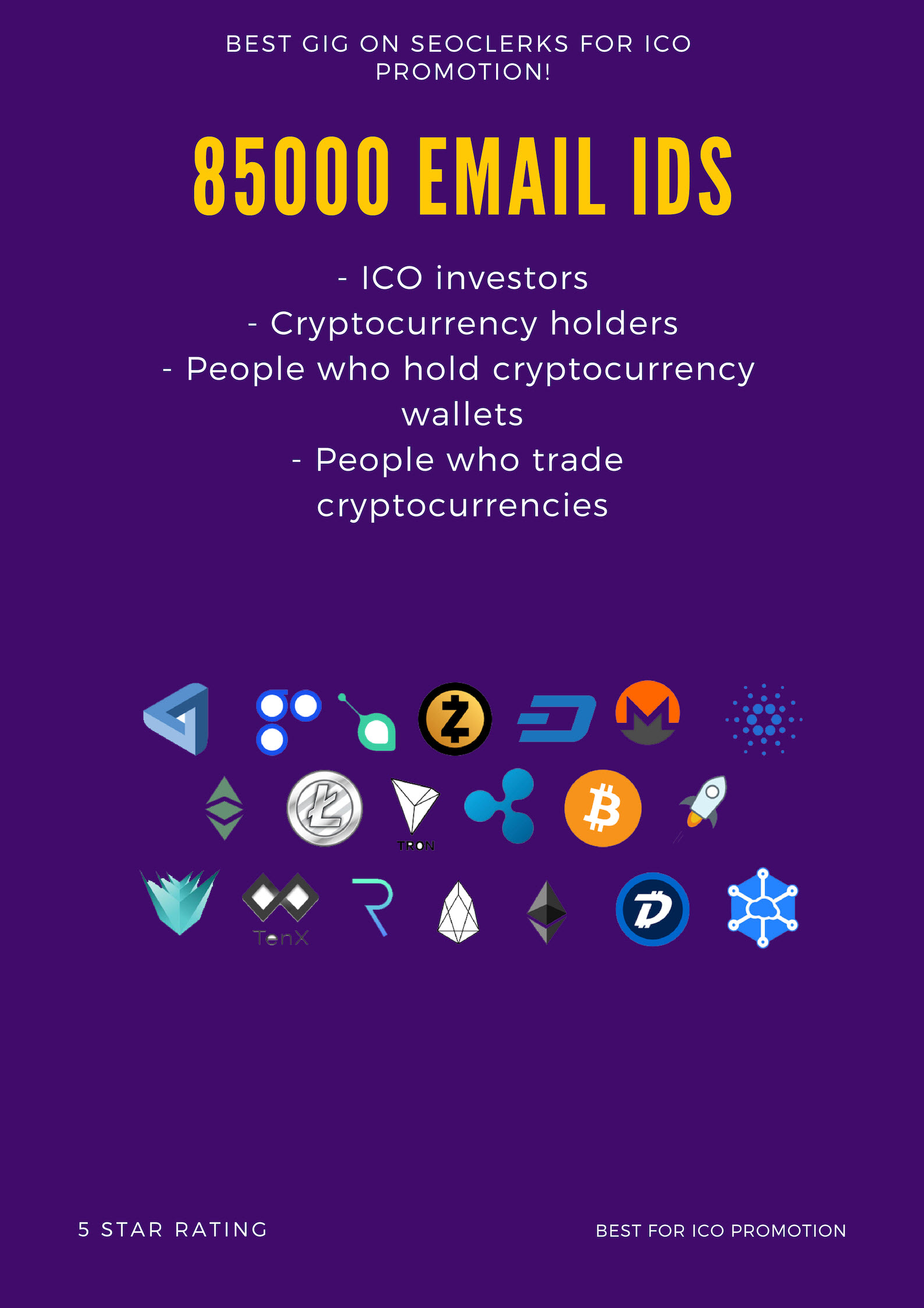 Email List - 85,000+ Email database of Cryptocurrency Buyers and ICO Investors - Token Promotion