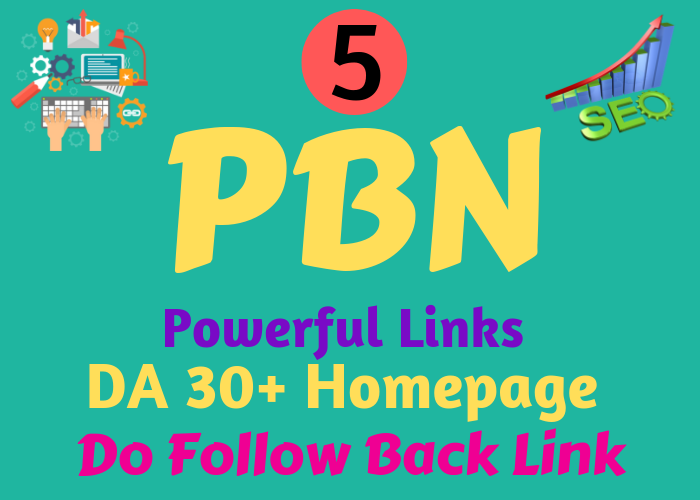 Build 5 Powerful PBN Links DA 30+ Homepage DoFollow