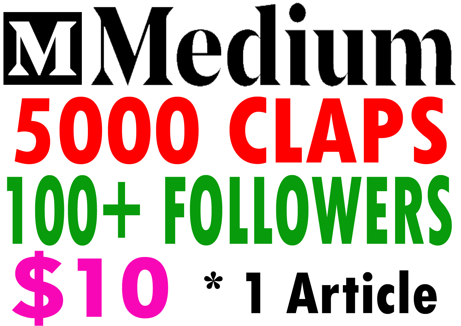 Buy 5000 Medium Claps for 1 Article & 100+ Followers.