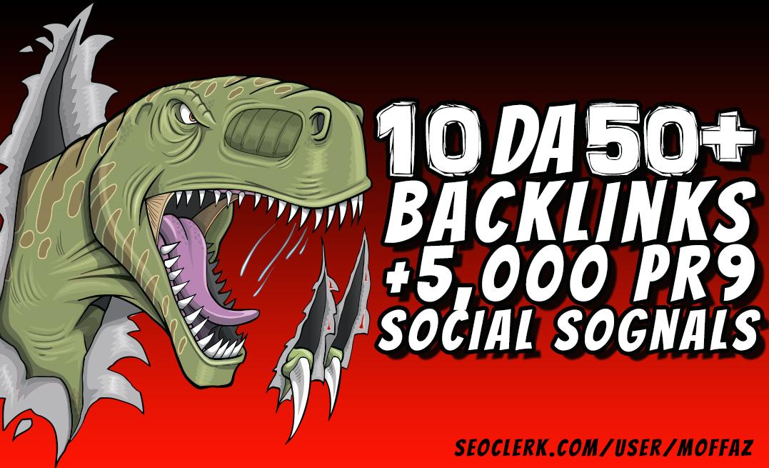 10 DA 50+ & 5,000 PR9 Social Signals