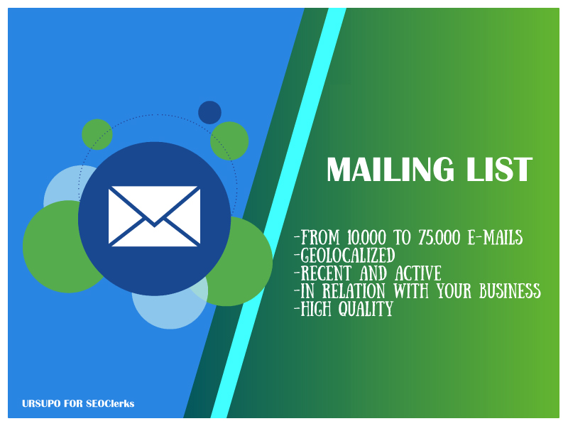10K geolocalized and active mailing list for your business