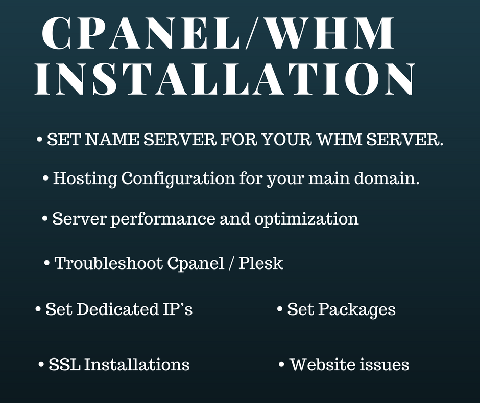 Install Cpanel Whm or Plesk At Vps Or Dedicated Server