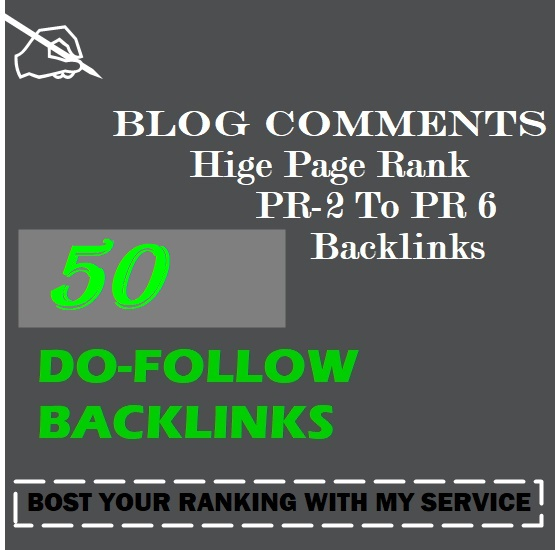 50 SEO blog comments backlinks pr2 to pr6