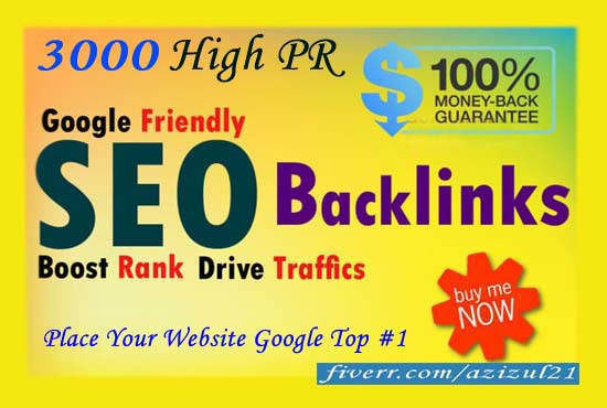 build top 3000 dofollow SEO backlinks,  manually
