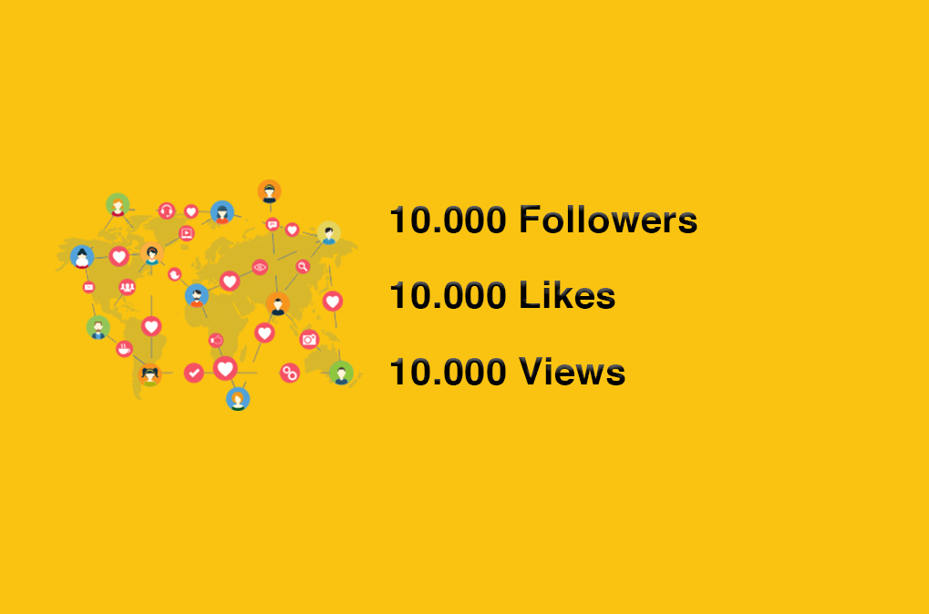 10k Followers,  Likes,  Views To Your Social Media Profiles. Instant Services