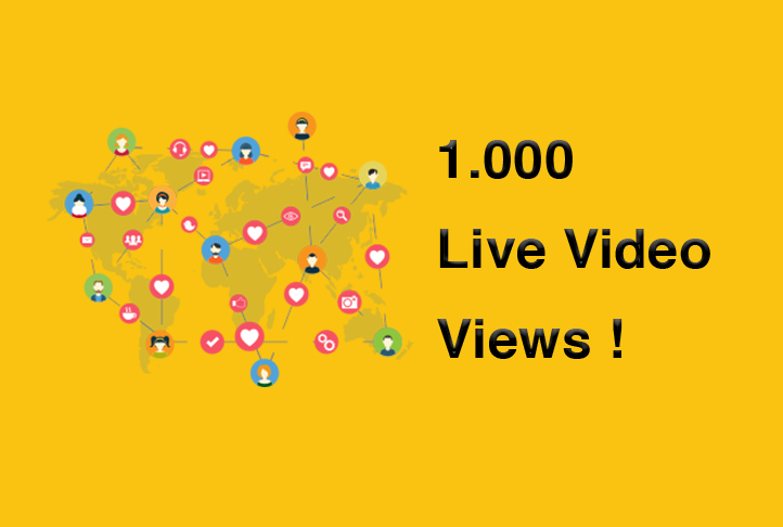 1.000 Live Video Views Lasts 1 hour - 1000 people live video views