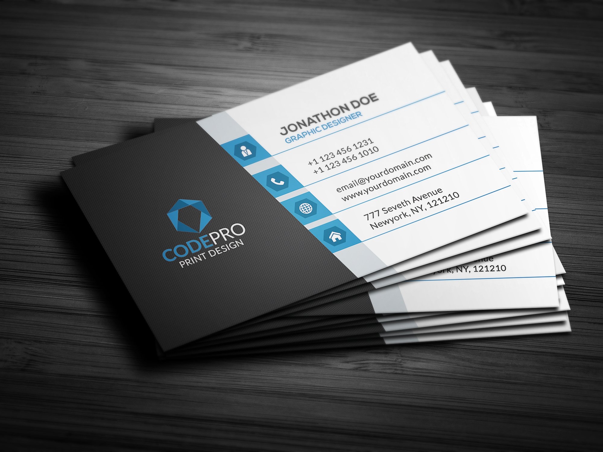 Design of five business cards suitable for printing + logo
