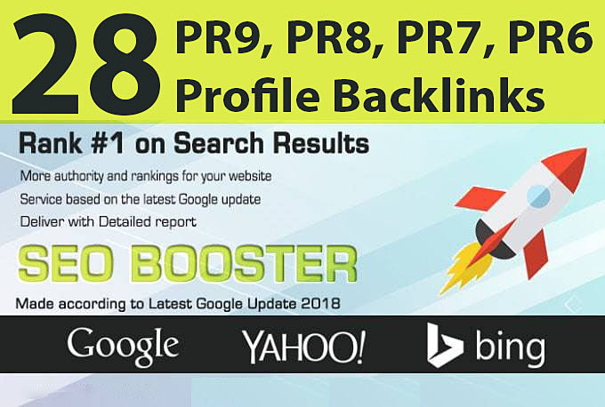 Manually Penguin Safe 28 PR9, PR8, PR7, PR6 Social Profile Backlinks