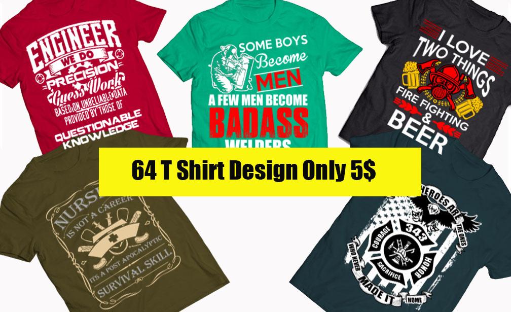 64 T Shirt Design Bundle JOB