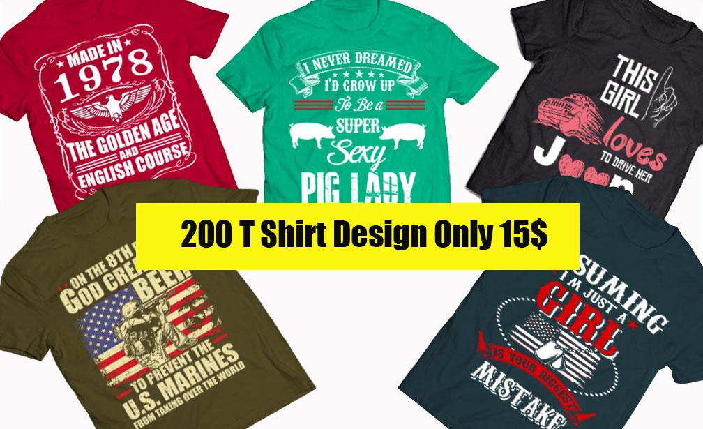 200 T Shirt Design Bundle MIXED