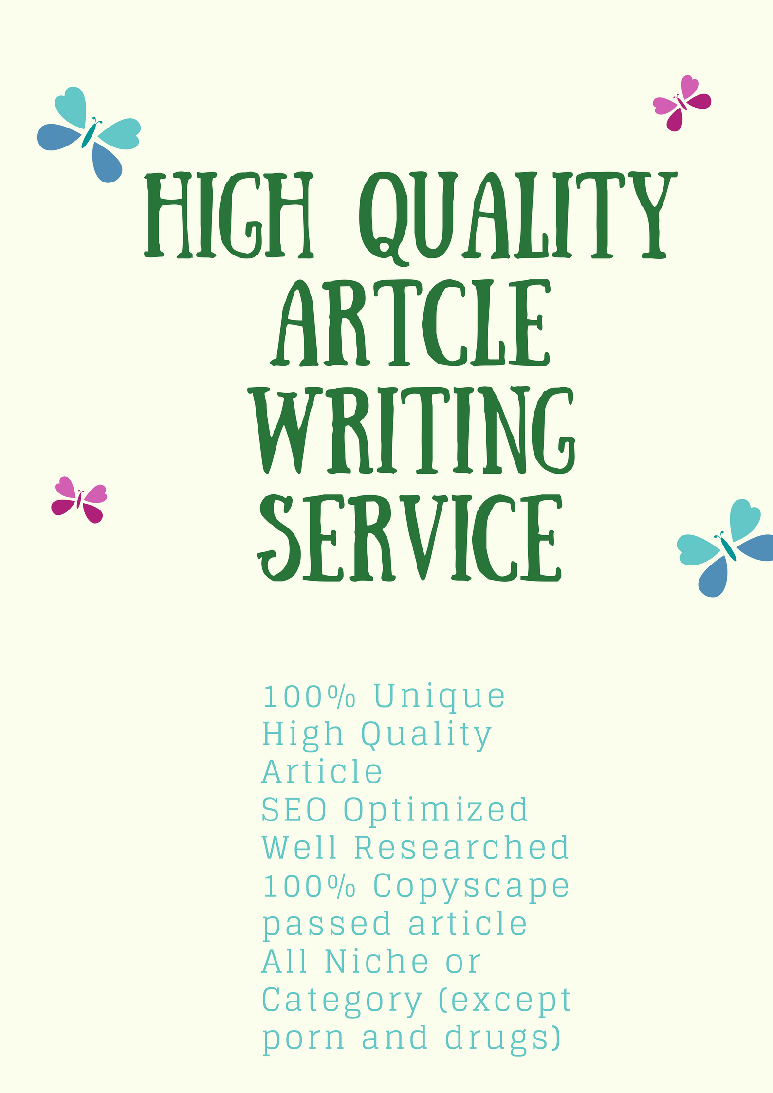 High Quality 1000+ Words Article Writing Service