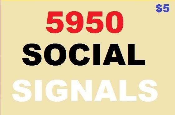5950 social signals 4500 web likes, 1000 pocket share, 450 pinterest