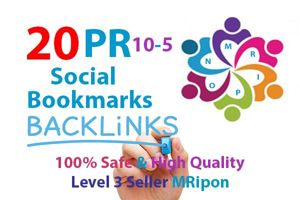 Manually 20 High PR DoFollow Social Bookmarks