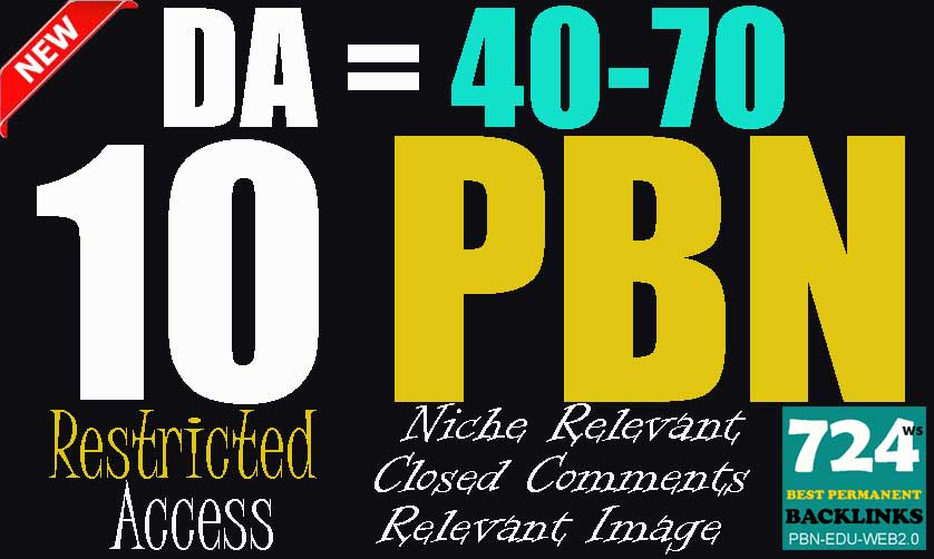 12 Restricted Access DA= 40-70 Permanent PBN Backlinks on TF-CF+20 Domains