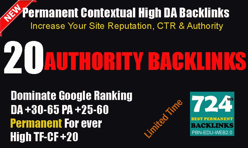 20 High Authority PBN Permanent Contextual Post Backlinks on DA 35-65 Domains