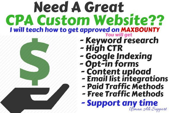 Get Custom CPA Website or Affiliate Website and Teach