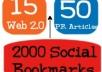 create 75 PR3 to PR8 seo LlNKWHEEL and 2000 social bookmarking backlinks!