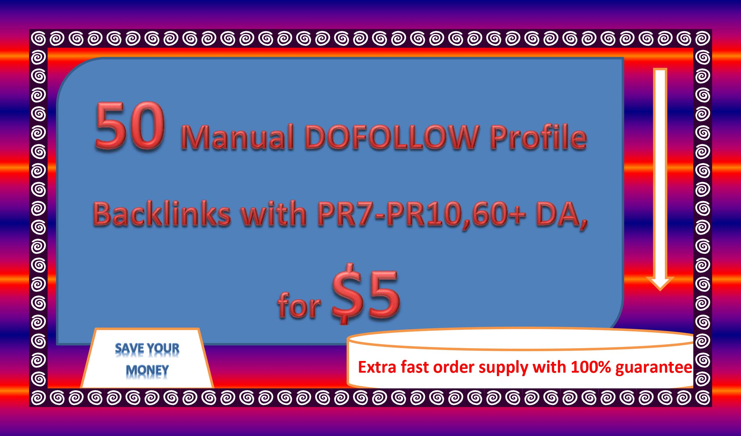 50 Manual DOFOLLOW Profile Backlinks with PR7-PR10,60+ DA