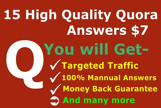 Give you targeted visitors with 15 HQ Quora Answers