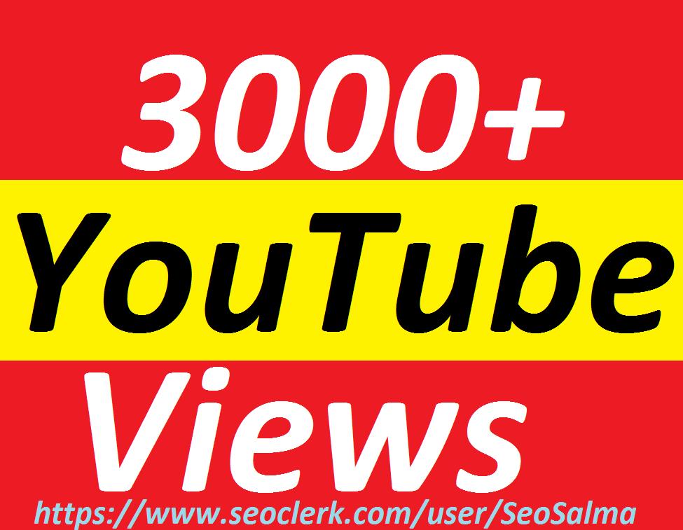 Add 3000+Real HQ YouTube Views Non Drops