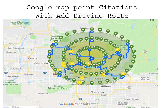 do 50 google maps point citations with add driving route