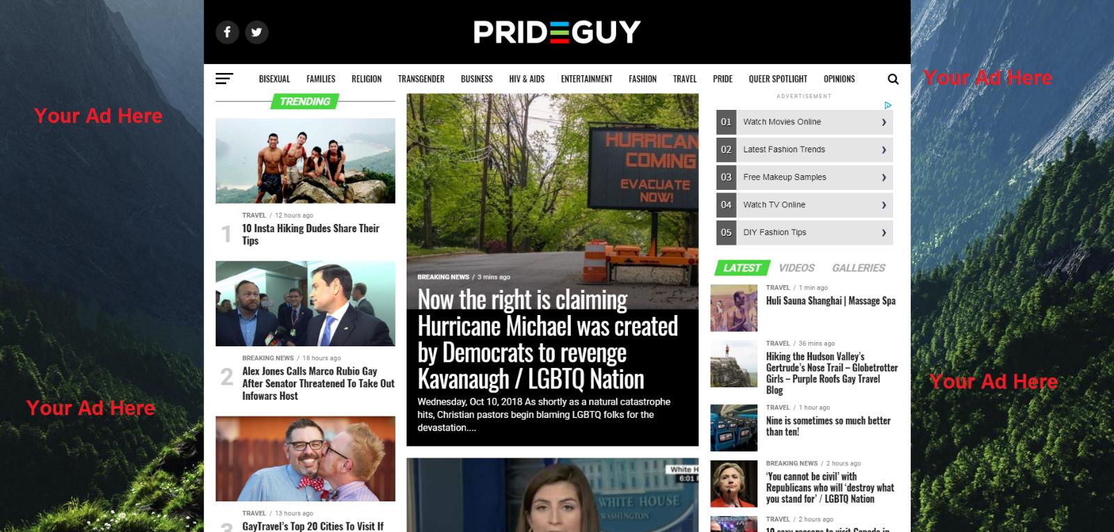 1 Week FULL BACKGROUND image Advertising On Gay Blog Website