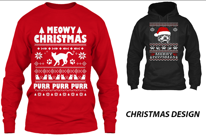 Make Ugly Christmas Sweater And Tshirt Design