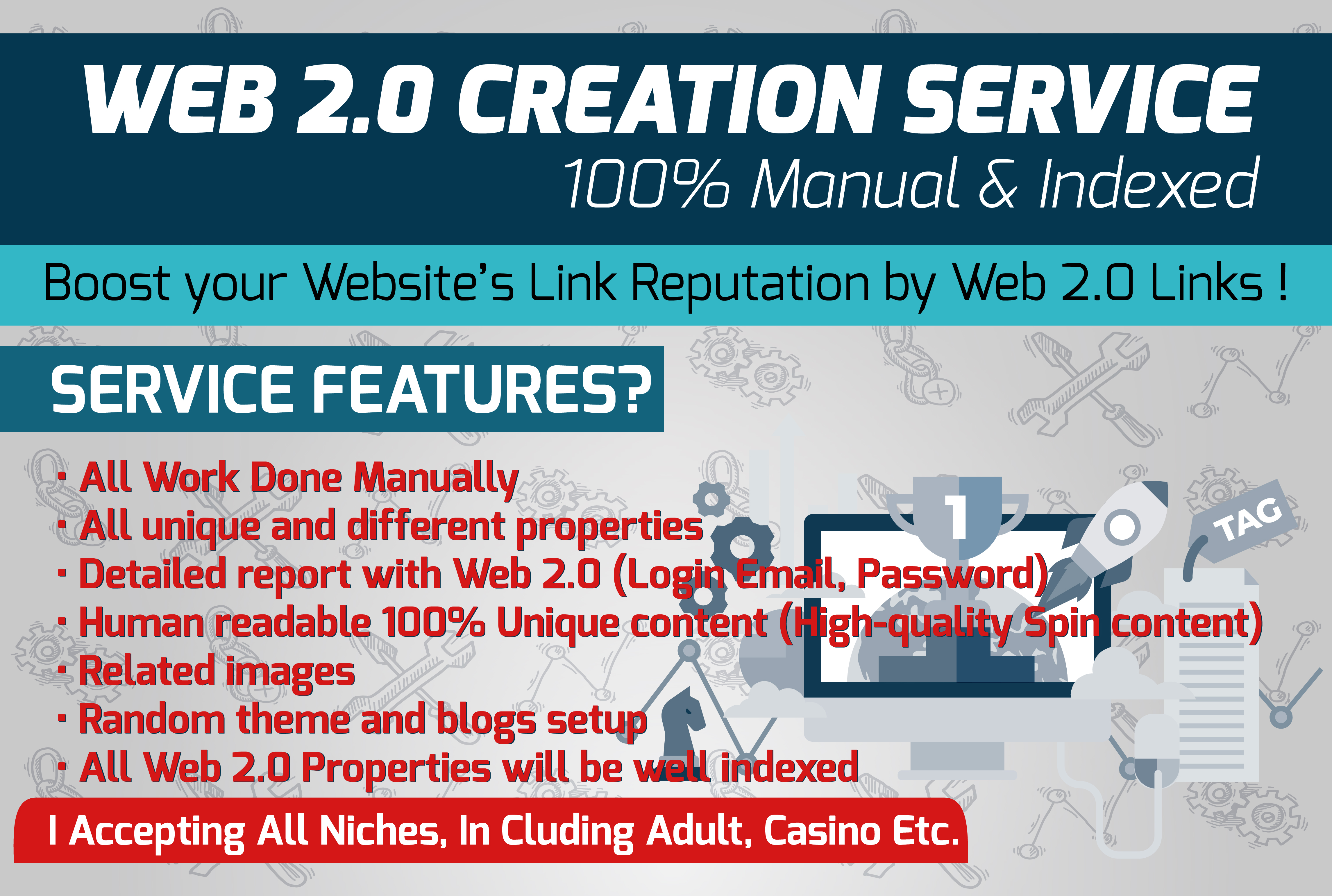 Web 2.0 Creation Service - 100 Manual & Indexed 1...