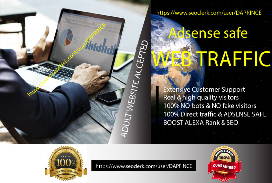 Click Me- Drive targeted 100% Adsense Safe Web traffic, daily visitors for One Month