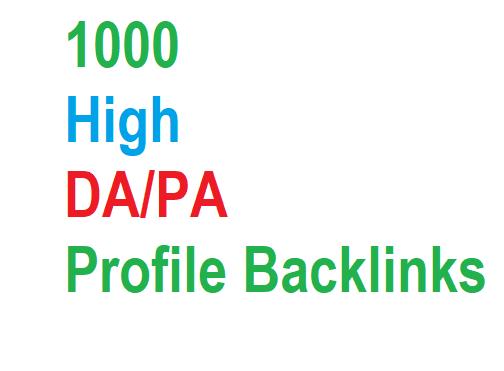 1000 High DA PA Backlinks