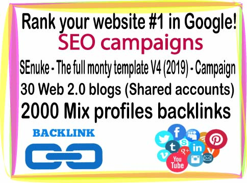 Rank your website- SEnuke - The full monty template V4 2019 -30 Web 2.0 blogs-2000 Mix profiles backlinks