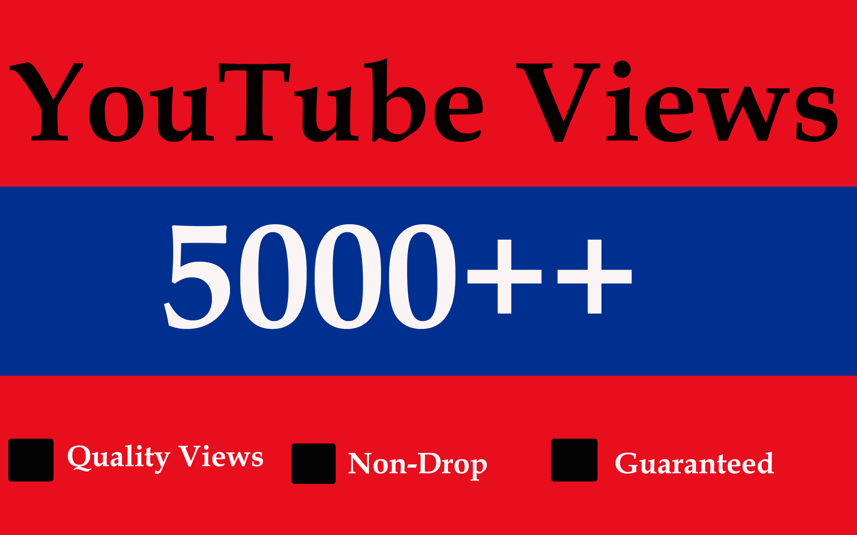 5,000 to 6,000 unprotected video views with an additional choice of 10k or 20k or 50k