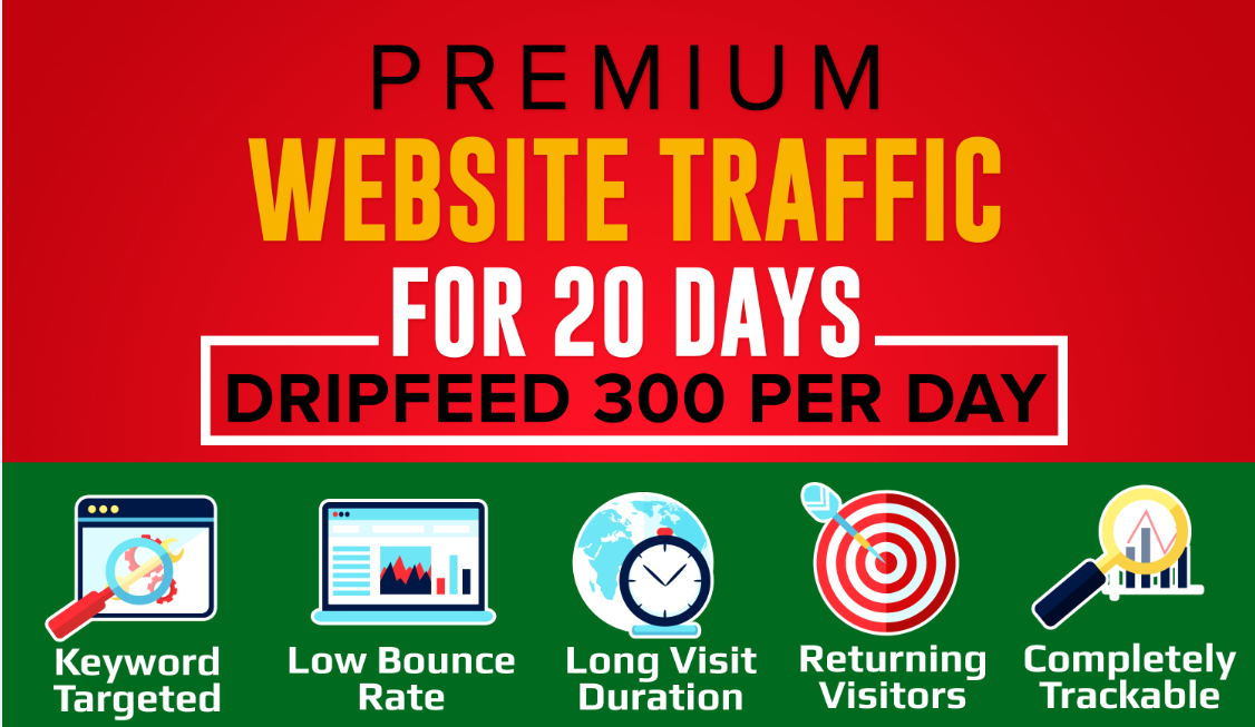 Provide Premium Website Traffic For 20 Days Dripfeed 300 Per Day
