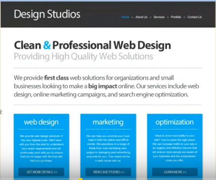 Create a professional web design with html and css