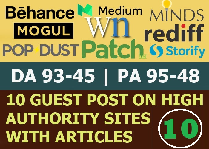 Write and Publish 10 Guest Post On High Authority Website, Not PBN (Limited Offer)