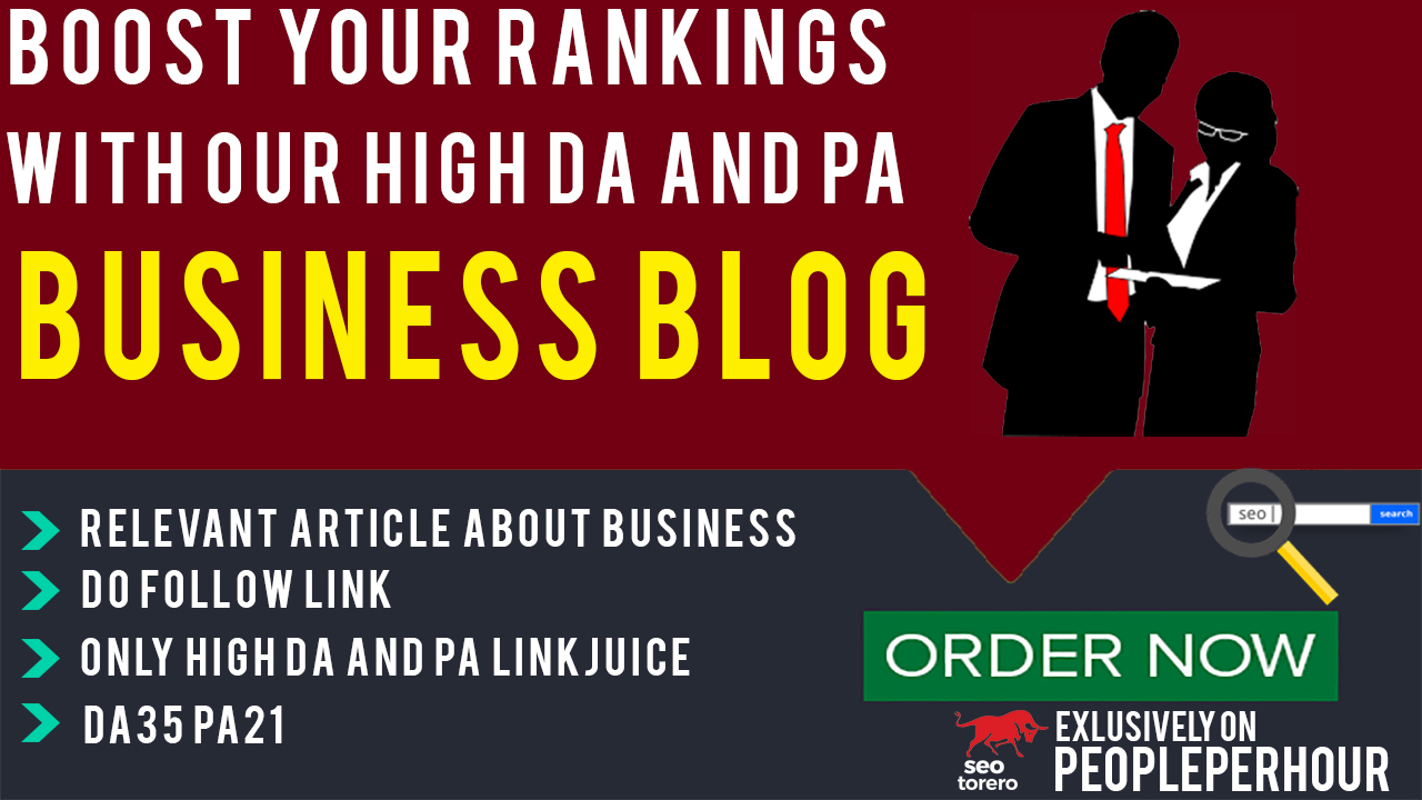 Publish a Guest post on DA35/PA21 Business blog for $35