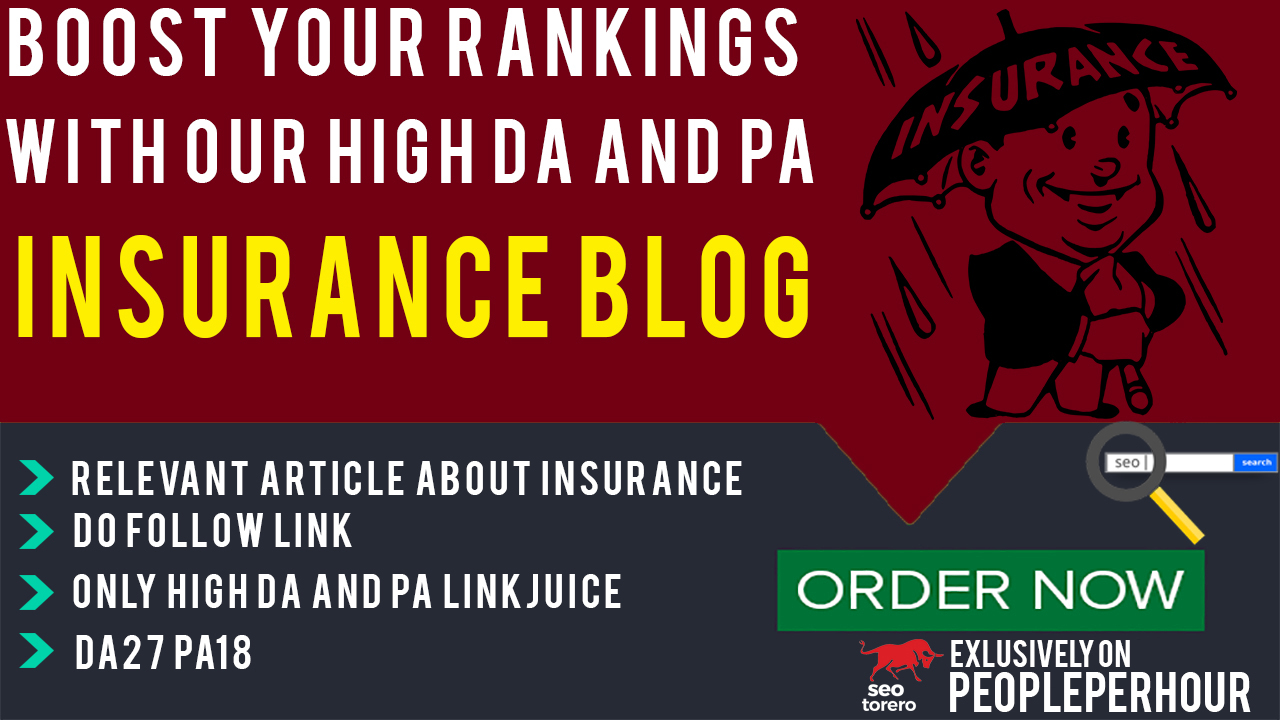 Publish Guest Blog post on Insurance blog for Link Building with Metrics  DA27 PA18 for $35