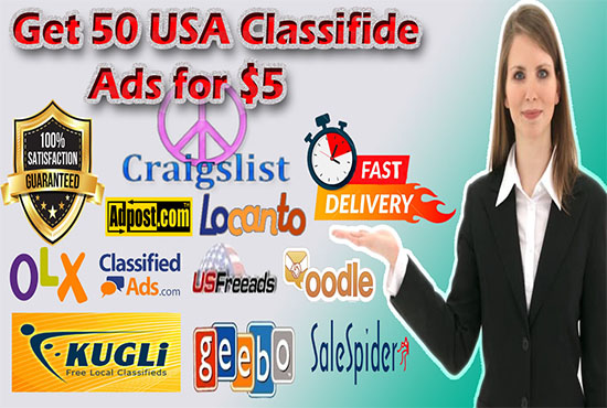 do 50 USA classified ads to high authority sites for $7