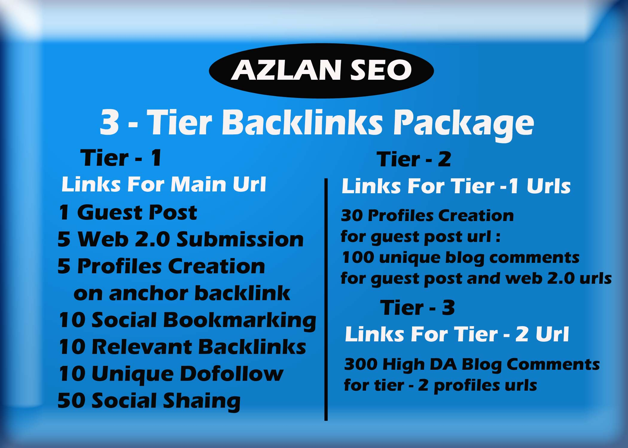 Provide quality 3 tier backlinks sky rocket package