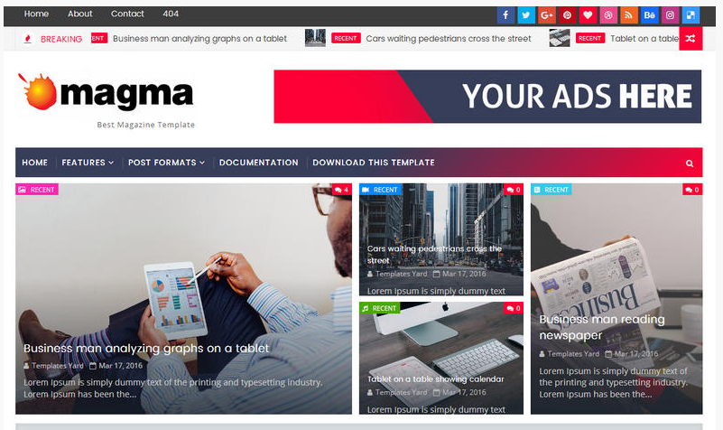 Buy Magma News Responsive Blogger Template Premium Version in Cheap Rate
