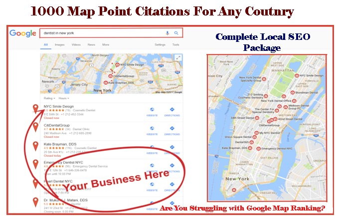 do 300 google Map point citations for any country any location