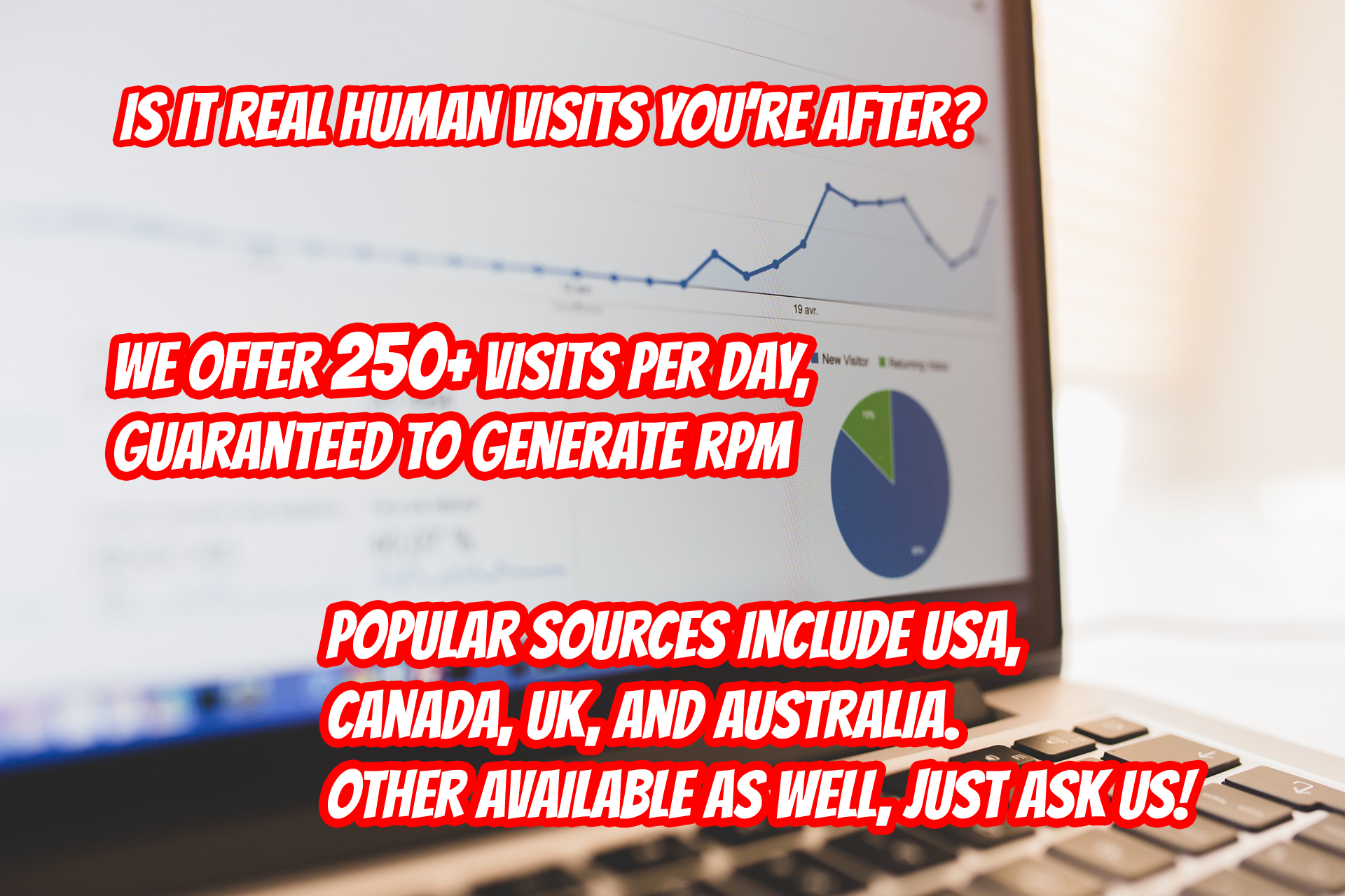 Real human hits to your website. No bots guaranteed 250+ visits per day for a whole month.