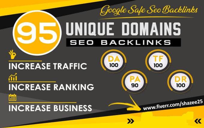 do 95 unique domain SEO backlinks on tf100 da100 sites