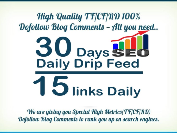 do 30 days SEO drip feed daily 15 dofollow backlinks blog comments